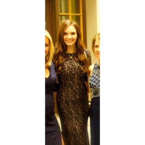 Adrianna Papell Dresses   Long Sleeve Navy Nude Lace Gown   Poshmark
